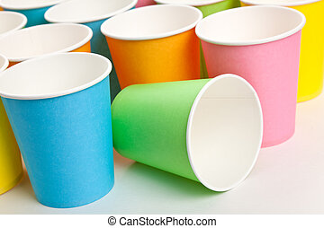 Disposable Cup - Colorful Paper Disposable Cup Close up