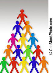 Colorful Paper Dolls on Grey Background