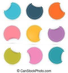 Colorful Paper Empty Stickers - Labels Set
