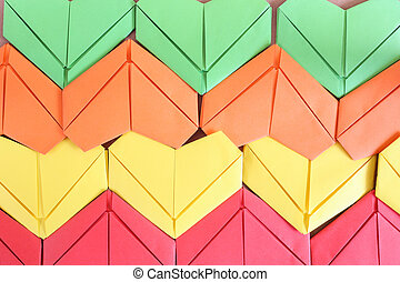 Colorful paper heart background