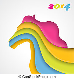 Colorful paper horse. Christmas and New Year card. Vector -...
