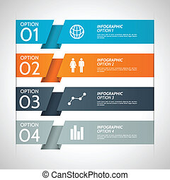 Folded colorful paper option background with infographic icons. Eps10 file with transparency.