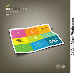 Colorful Paper Infographics, Folded 9 fold for business...