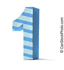 Colorful Paper Mache Number on a white background - Number 1