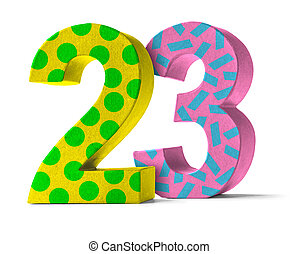 Colorful Paper Mache Number on a white background - Number 23