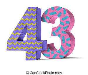Colorful Paper Mache Number on a white background  - Number 43