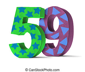 ... Colorful Paper Mache Number on a white background - Number.