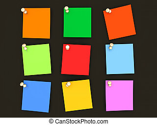 Colorful paper notes - Pinned paper notes in various colors...