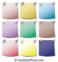 paper notes - Colorful paper notes with holding pins