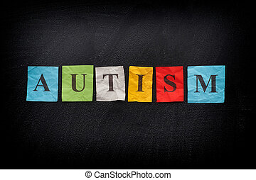 Colorful paper notes with word the Autism