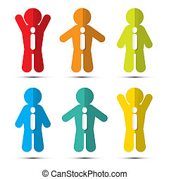 Colorful Paper People Icons with Ties