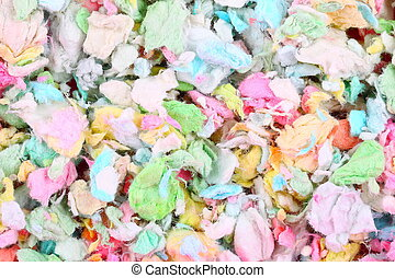 Colorful paper pet litter