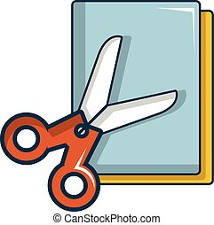 Colorful paper scissors icon, cartoon style