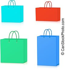 Colorful Paper Shopping Bags collection isolated on white background.