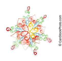 colorful paper snowflake isolated on white