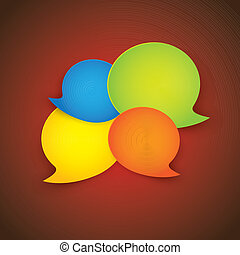 Colorful paper speech bubbles on red gradient background- vector illustration.