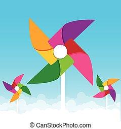 Colorful paper wind turbine on blue sky background vector illustration