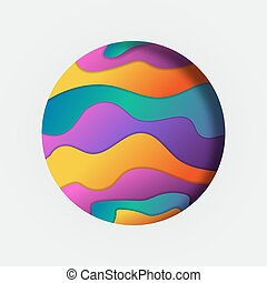 Colorful papercut circle illustration of bright color waves and abstract design on isolated white background.