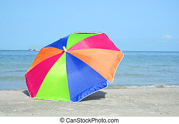 Colorful parasol - Tropical vacation with a color parasol by...