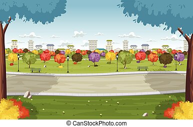 colorful park in the city