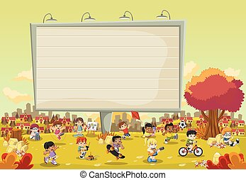 Colorful park in the city with a big billboard and cartoon children playing