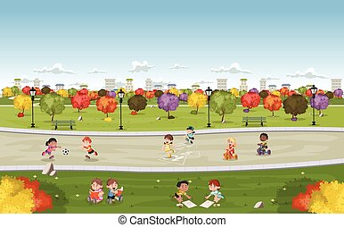 Colorful park in the city with cute cartoon kids playing