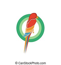 Colorful Parrot Icon Design Illustration