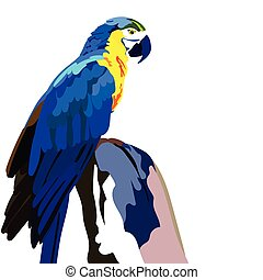 Colorful parrot on a wooden branch