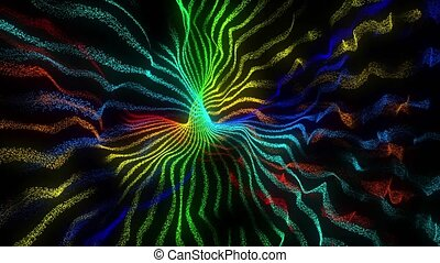 Colorful particles atomic waves abstract seamless loop animation, 3D render on black background. Looped abstract wave background. Glow multicolored particles form abstract forms and structures.