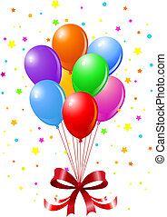 Party Balloons - Colorful Party Balloons and Confetti