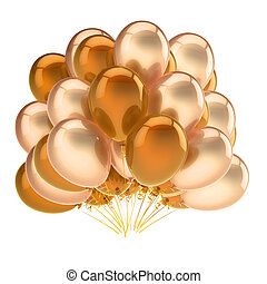 colorful party balloons bunch golden yellow