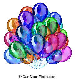 Colorful party balloons, multicolored birthday decoration