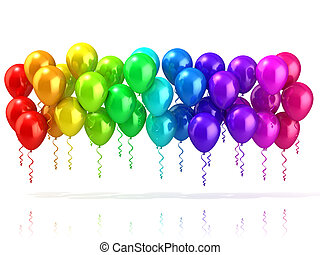 Colorful party balloons row