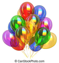 colorful party balloons translucent. birthday event decoration