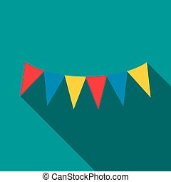 Colorful party flags icon, flat style