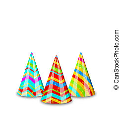 Colorful party hats for your holiday, isolated on white backgrou