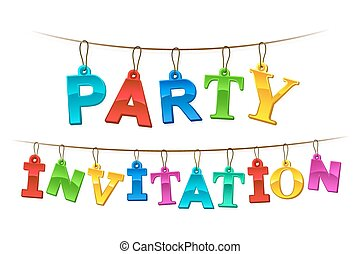 Colorful Party Invitation banner or card design