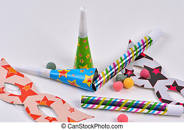 Colorful party items for birthday or carnival on a white background