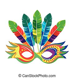 colorful party mask with feathers