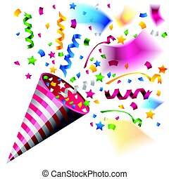 Colorful party popper for celebration