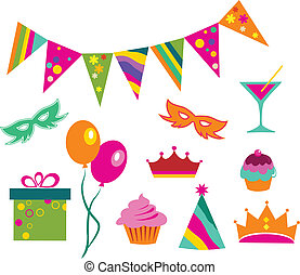 colorful party set, vector illustration