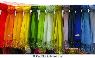 Colorful pashmina scarves at an outdoor market