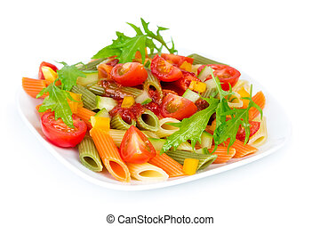 Colorful pasta on a white plate