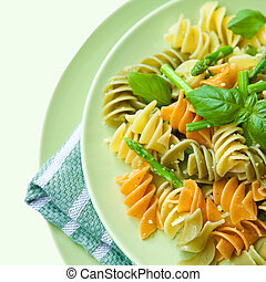 Colorful pasta with asparagus.