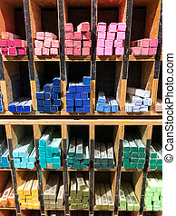 colorful pastel chalks pens in shelf - multicolored ,