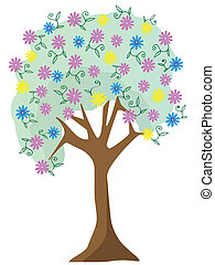 Colorful pastel flower tree vector