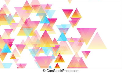 Colorful pastel triangles abstract tech low poly background. Geometry motion design. Seamless looping. Video animation Ultra HD 4K 3840x2160
