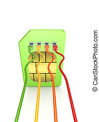 Colorful patchcords connected to SIM card.
