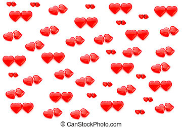 colorful pattern of hearts on a white background. pattern of hearts. the view from the top