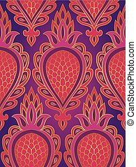 Colorful pattern with abstract fruit.